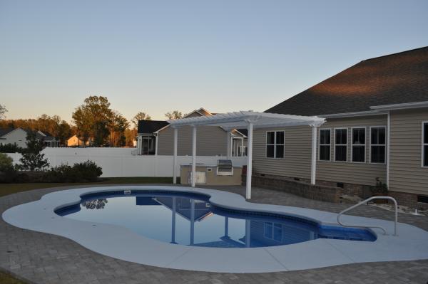 Backyard Pool and Kitchen
