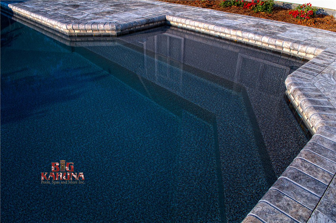 Tanning Ledge, Steps, Bench Seat, Waterline Tile, Silver Travertine Coping and Pavers