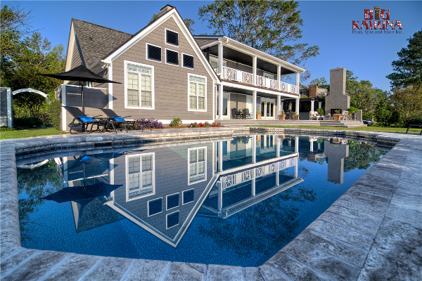 Vinyl Liner Pool Renovation with Outdoor Living Area