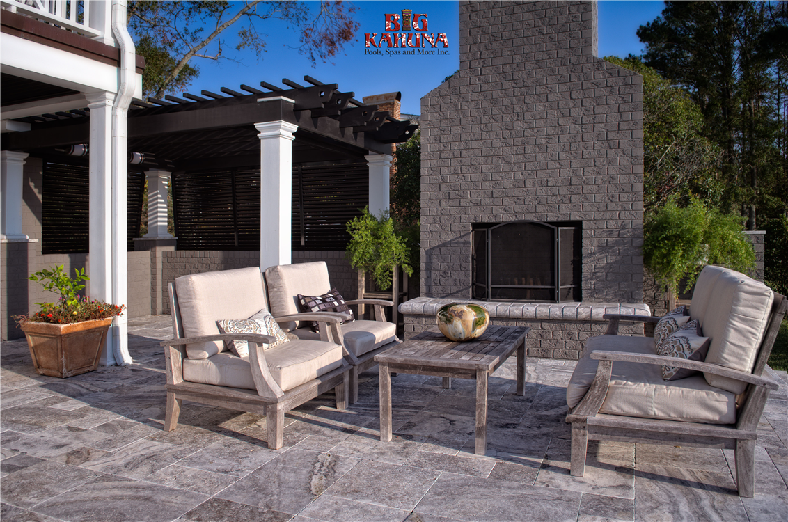 Pergola, Fireplace, Bahama Shutters, Outdoor Living at its finest