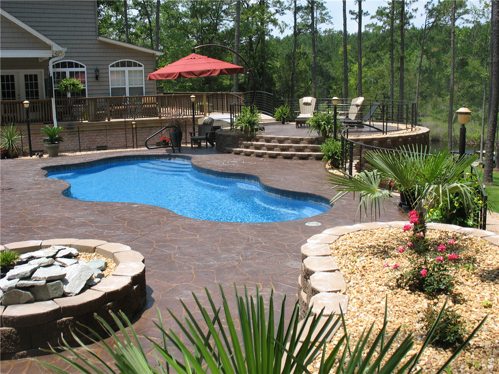 Freeform Pool with Stamped Concrete