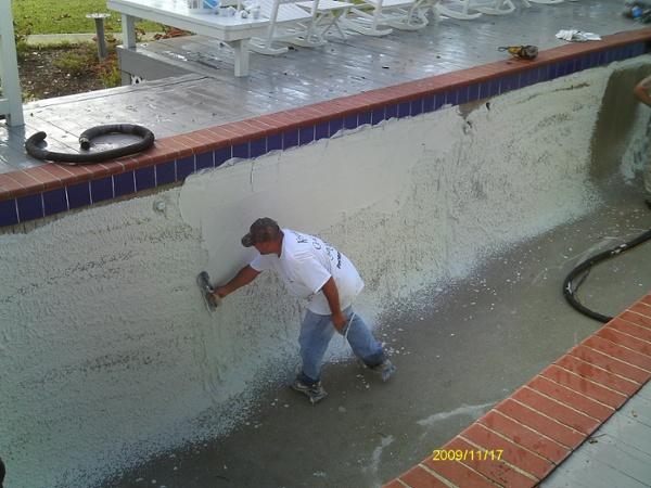 applying White Marcite Pool Plaster