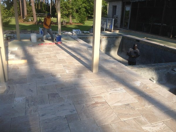 Travertine Tile install going well, almost ready for grout!