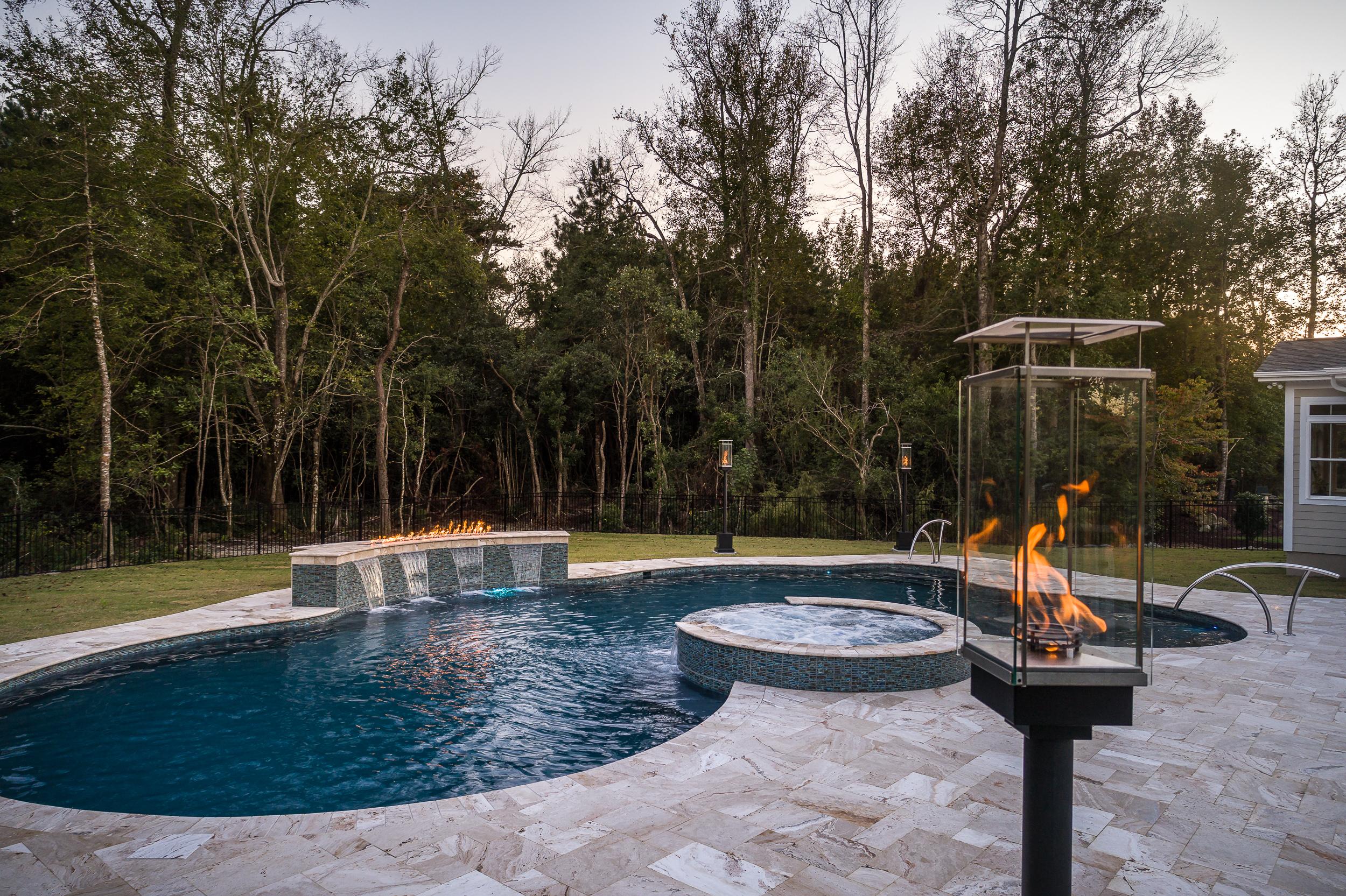 Vinyl liner swimming pools, fiberglass swimming pools
